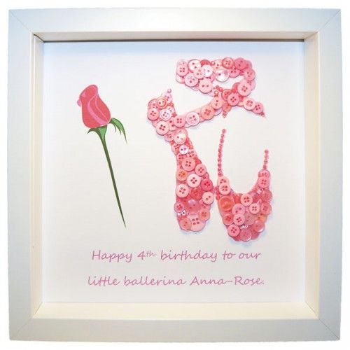 Personalised Ballet Shoe Button Picture - Ballerina | £25.00