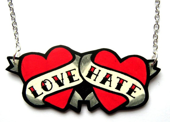 Tattoo Necklace Tattoo Flash Style Love and Hate by DollyCool, $12.00