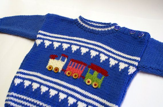 Child sweater with crochet train, blue & white, 2 years