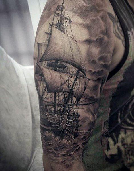Ships Wheel Tattoo For Men