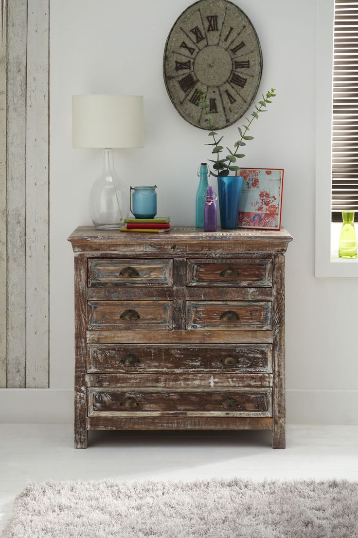 Legacy Chest of Drawers - Each piece of Legacy chest has a unique colouring on solid Indian reclaimed wood with distressed finish and rustic handles.