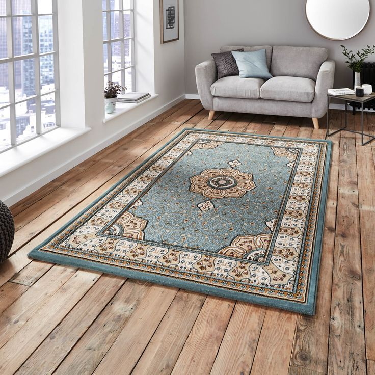 Heritage Traditional Rugs in Blue are power loomed with a Wilton construction and a superb quality.
