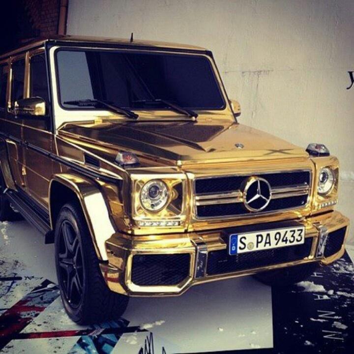 Gold chrome mercedes g class some rides pinterest gold for All black mercedes benz g wagon
