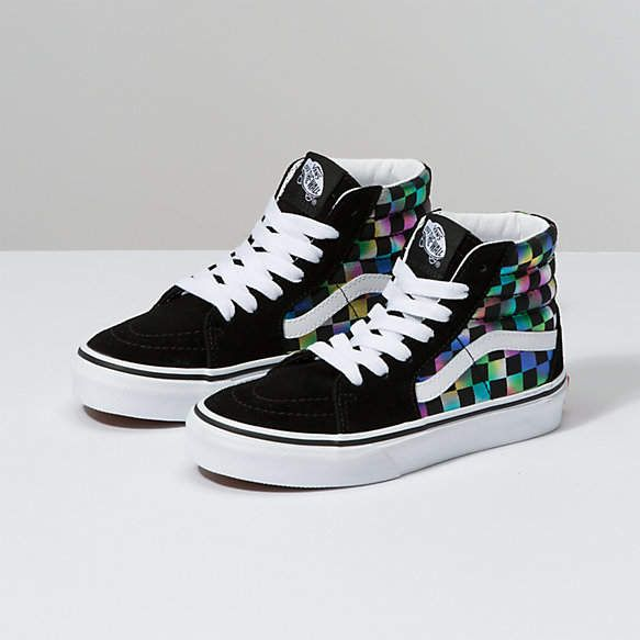 Kids Iridescent Check Sk8 Hi | Boys shoes, Vans kids, Vans