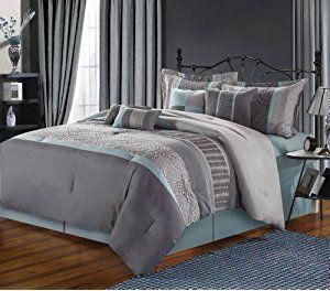 Chic Home 8-Piece Euphoria Embroidered Comforter Set, Queen, Grey
