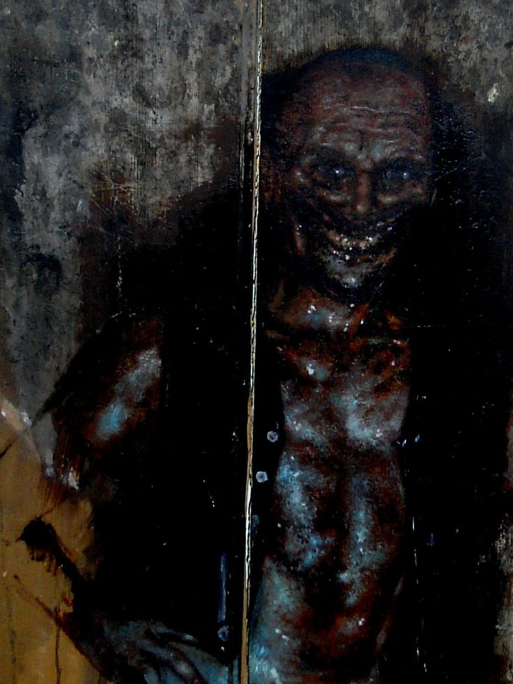 "SCP-106 - Appears to be an elderly humanoid, with a general appearance of advanced decomposition. Causes a ""corrosion"" effect in all solid matter it touches, engaging a physical breakdown in materials several seconds after contact. Able to ""vanish"" inside solid matter, entering what is assumed to be a form of ""pocket dimension""."