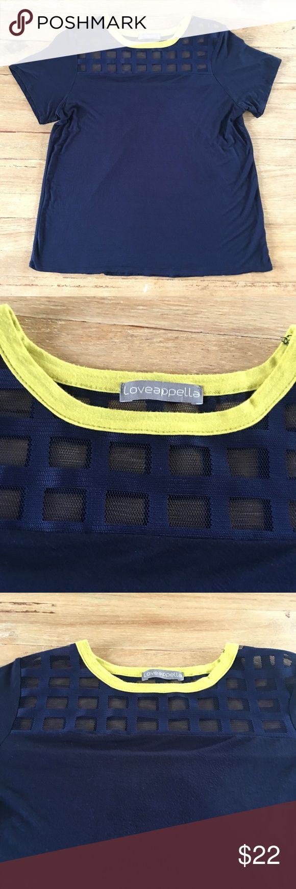 """Leveappella for Stitchfix. Navy /neon yellow top Loveappella for Stitchfix.   Mesh detail at top with bright yellow trim.   Length is approx 26"""" and chest is approx 18.5"""" across laying flat. Loveappella Tops"""
