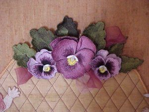 Elsa's embroidery,  3-D pansies!!