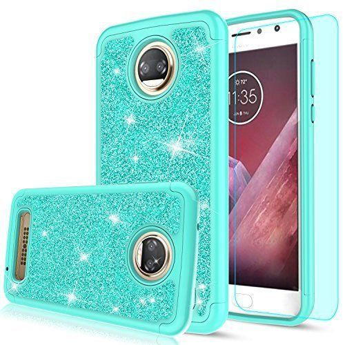 Moto Z2 Play Case With Screen Protector Glitter Silicone Faux Leather Cover Mint #MotoZ2PlayCase