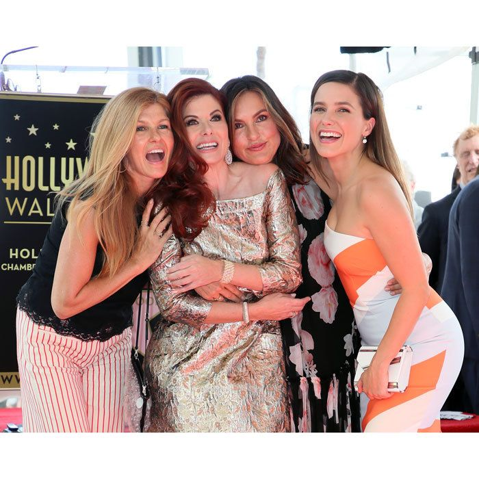 Debra Messing was surrounded by some of her closest friends including Connie Britton, Mariska Hargitay and Sophie Bush when she received her star on the Hollywood Walk of Fame.