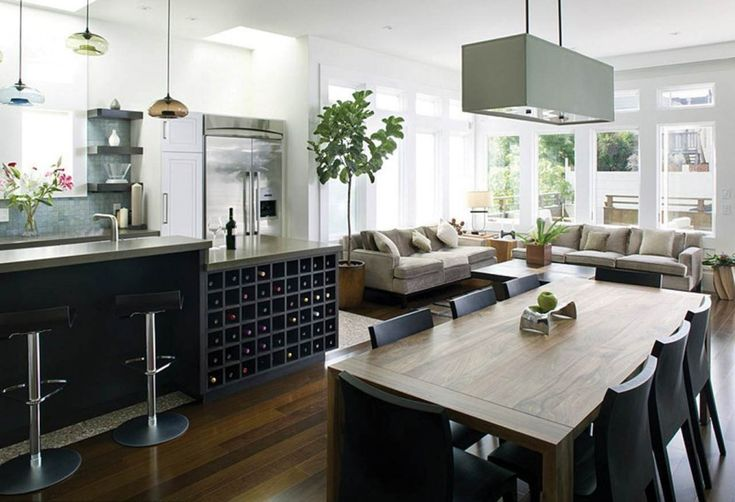 Epic Captivating Open Floor Apartment Kitchen Design with Matte Black Kitchen Cabinets and Island and Countertops also Black Bar Stools and Black Huge P u