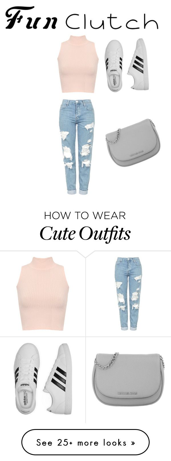"""clutch outfit"" by ninjaa12 on Polyvore featuring WearAll, Topshop, adidas and Michael Kors"