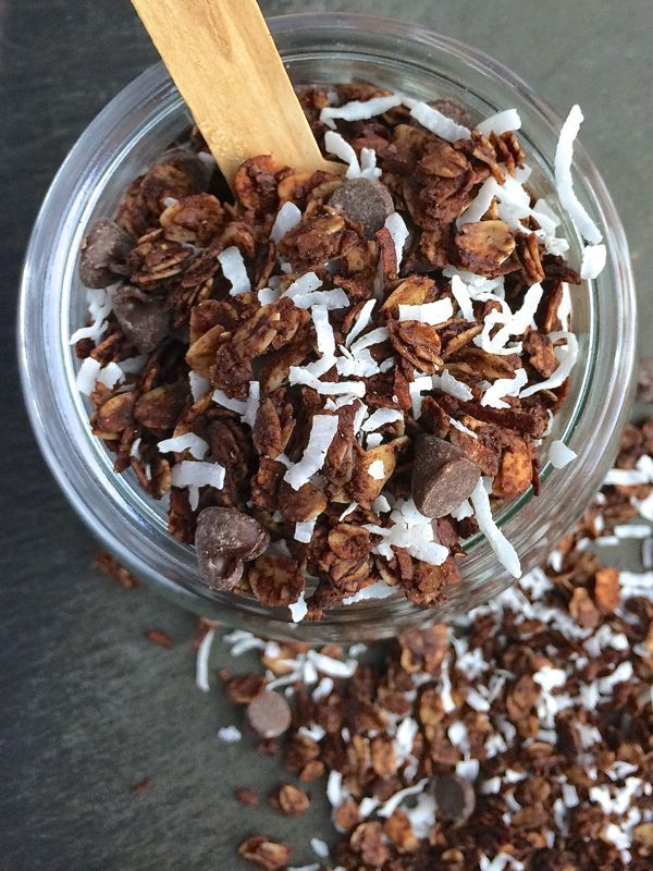 Almond Joy Granola. Almonds are full of healthy fat, and there is not any added sugar in this recipe, like many of the granola brands you find at the store.