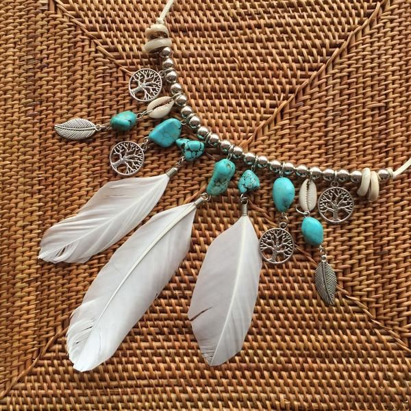 Fancy Feathers tassel necklace | I simply fell in love with this gorgeous Boho look feather tassel necklace.  The design combines crisp white feathers suspended from turquoise stones, silver leaf and Tree of Life pendants along with pretty sea shell beads.