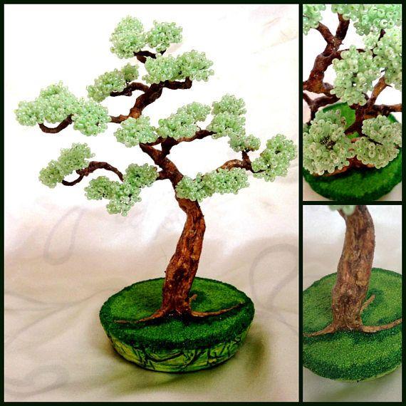 Beaded Bonsai Tree Wired Bead Bonsai Wire Tree Sculpture