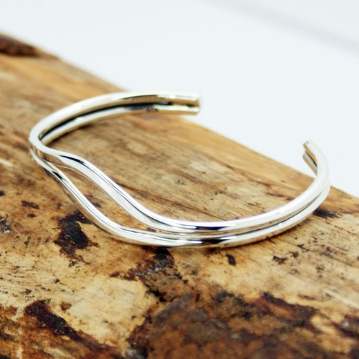 Pura Mexico Sterling Silver Two Strand Cuff Bangle - features two flattened strands