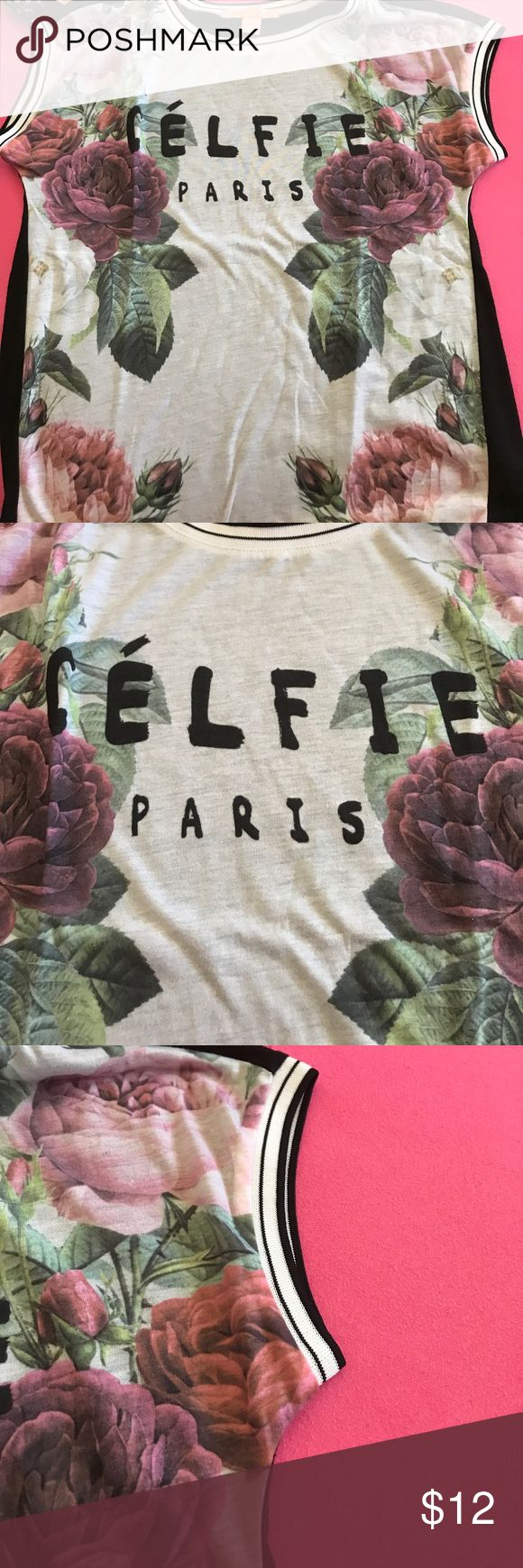 Celfie shirt Almost new! No stains or rips! Can fit small to medium. With floral design Tops Blouses