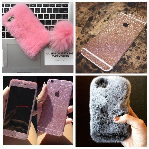ISO • iphone 6 ~ fur case | glitter skin SEARCHING FOR!! ( not for sale ) Pink, white, grey, black, gold. No other colors. Iphone 6/6s glitter skin decal and also fur iphone case. This brand is Velvet Caviar Velvet caviar Accessories Phone Cases