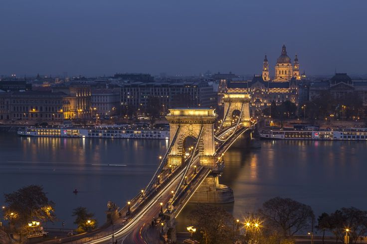 A blue hour shot from the Buda Hill with a view of the Chain Bridge and the Basilica