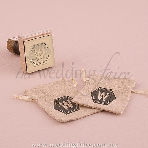 Bistro Bliss Personalised Monogram Rubber Stamp - The Wedding Faire  Design your own personalised stamp to use on everything from your wedding invitations to your favour bags.  5 cm (W) x 5 cm (H)  Rubber (stamp pad) and wood (handle)