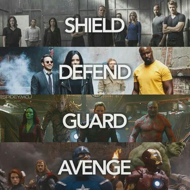Agents of SHIELD, The Defenders, The Guardians of the Galaxy and The Avengers (Notice Matt while everyone else had their serious faces)