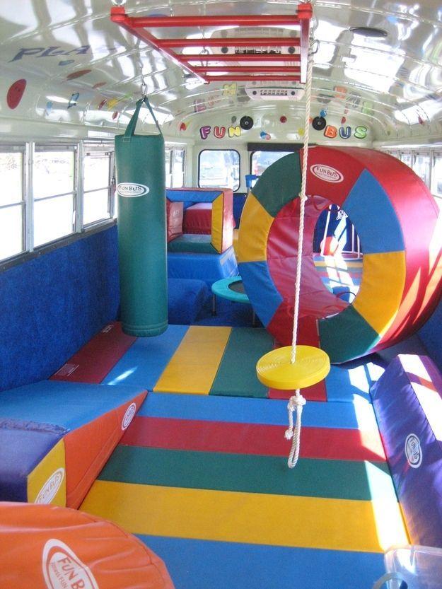 Gymnastics Equipment For Sale >> The Movie Bus | Pediatric/School Based OT/PT Blog Posts | Kids party bus, Kids gym, Sensory rooms