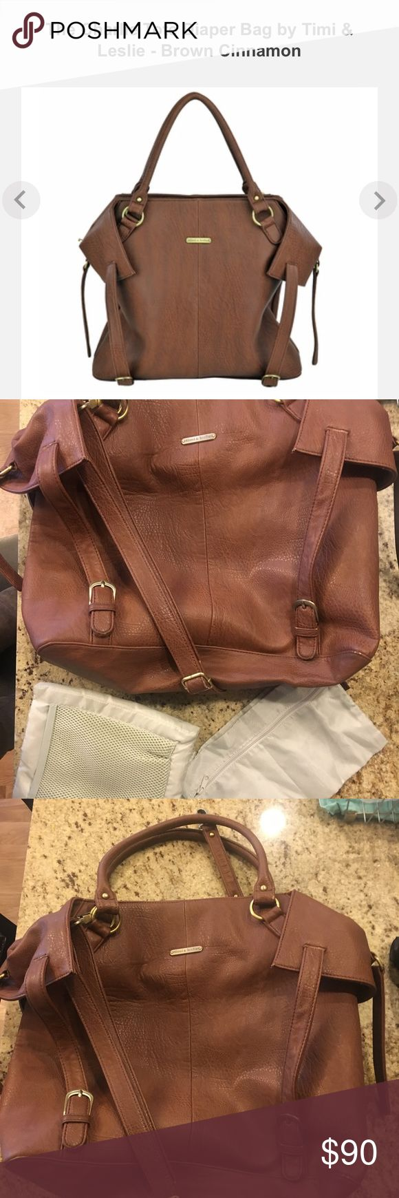Timi and Leslie diaper bag SOLD OUT at stores!  Gorgeous and stylish diaper bag.  Comes with the mesh bag for soiled clothes and diaper changing pad.  See pic for specs. Good condition.  Few scuffs, shown in picture. Timi & Leslie Other