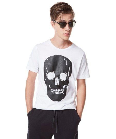 """Camiseta """"Caveira"""" Herchcovitch Branca - cea"""