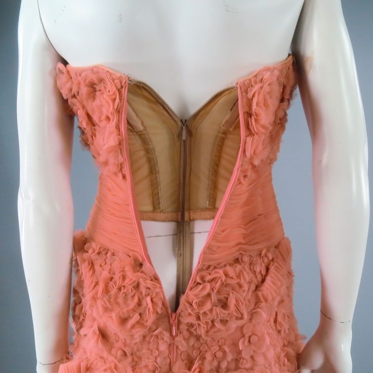 ZUHAIR MURAD Size 4 Salmon Rose Silk Tulle Strapless Evening Gown