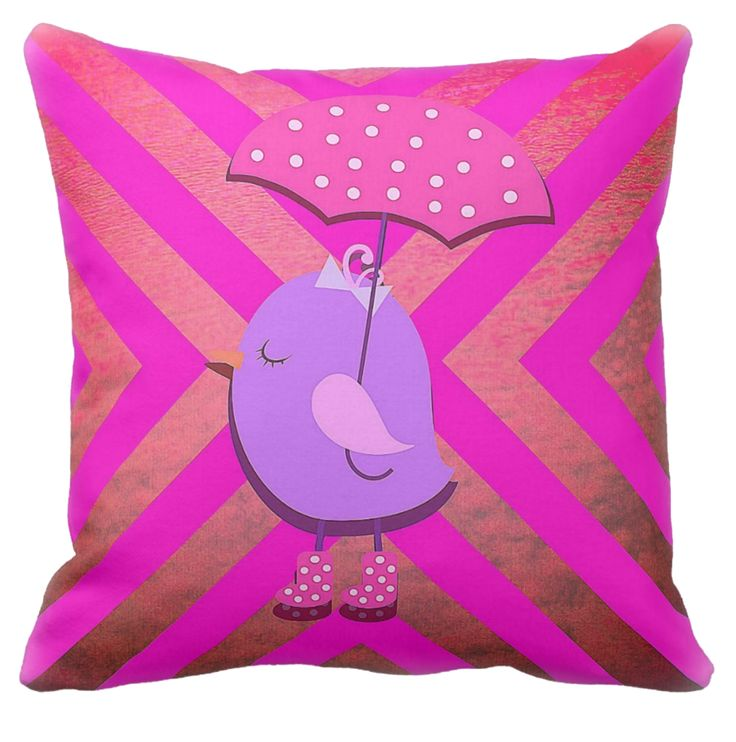 Miss Birdy looks like just the lady with her pink and white polka dot brolly. Even though it's not raining, who cares? This is a lovely bold pink cushion for the kids to love and maybe toss around. A bright addition to their home decor.