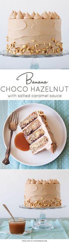 Banana Chocolate Hazelnut Cake | Recipe by Tessa Huff for http://TheCakeBlog.com