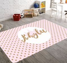 Pink and Gold Nursery Decor Nursery Rug Rugs For by HawkerPeddler