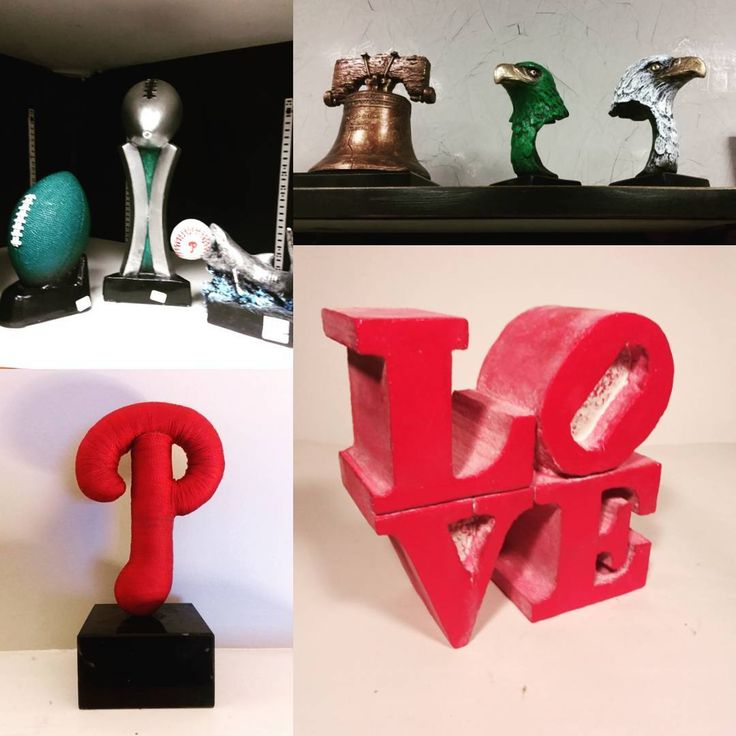 Feeling a little home sick... Philly sports and iconic symbols These sculptures are for sale and available @artiquedesigns  Go eagles!! #philly #sports #philadelphia #eagles #football #trophy #award #sculpture #phillies #fan #bleedgreen #phillienation #libertybell #lovepark #homesick #art #forsale #handpainted #madeinamerica