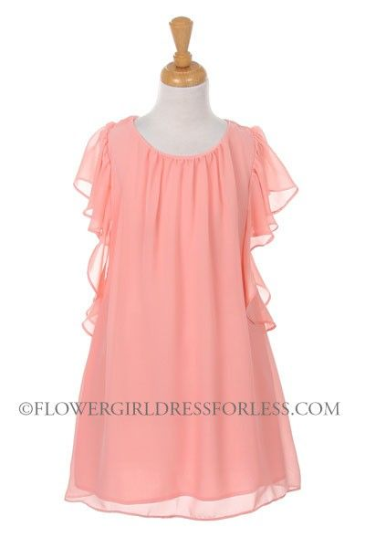 Girls Dress Style 7001- Chiffon Dress with Removable Sash $45.99