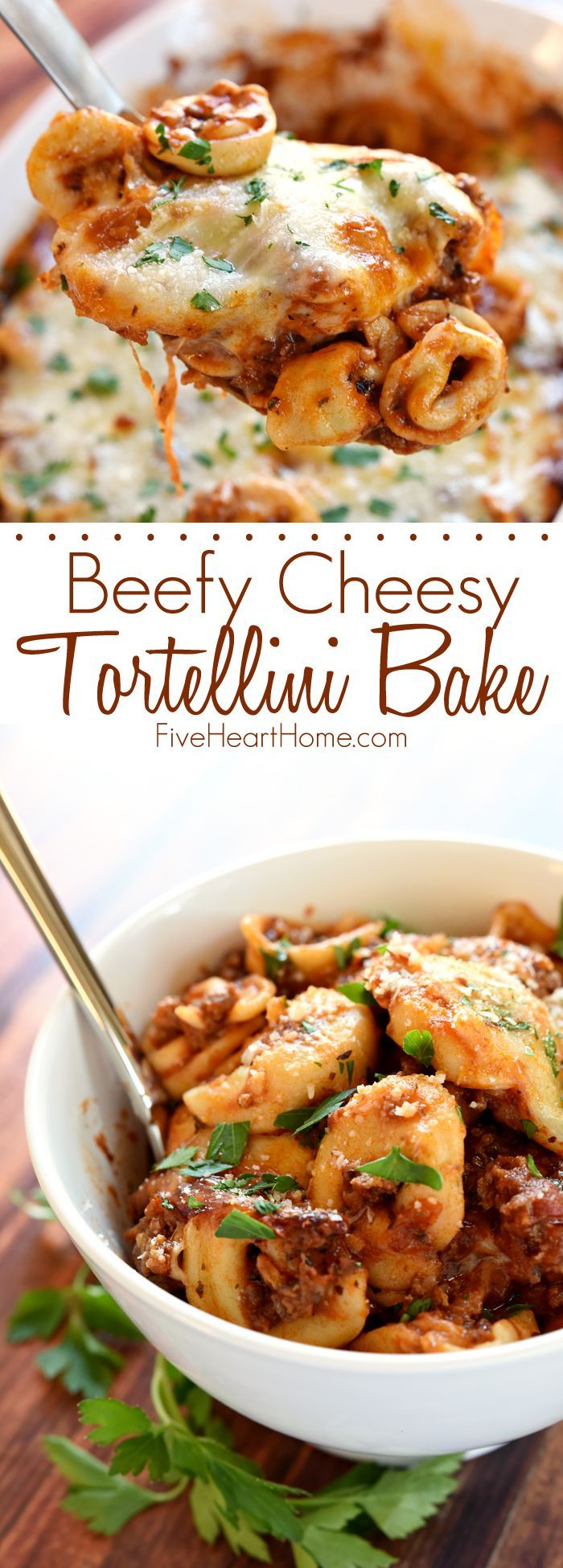 Beefy Cheesy Tortellini Bake ~ loaded with tortellini, marinara sauce, and mozzarella cheese, this effortless pasta dinner is one that the whole family will love! | FiveHeartHome.com