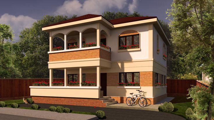 Casa mica cu 3 dormitoare la etaj | A small house in warm colors | Etichete:  proiecte case, case cu etaj, case cu acoperis traditional
