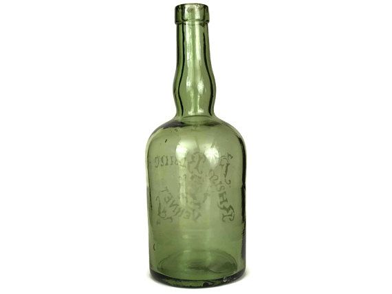 Antique Rum Bottle. Etched Green Glass Rhum Blanc Vernet