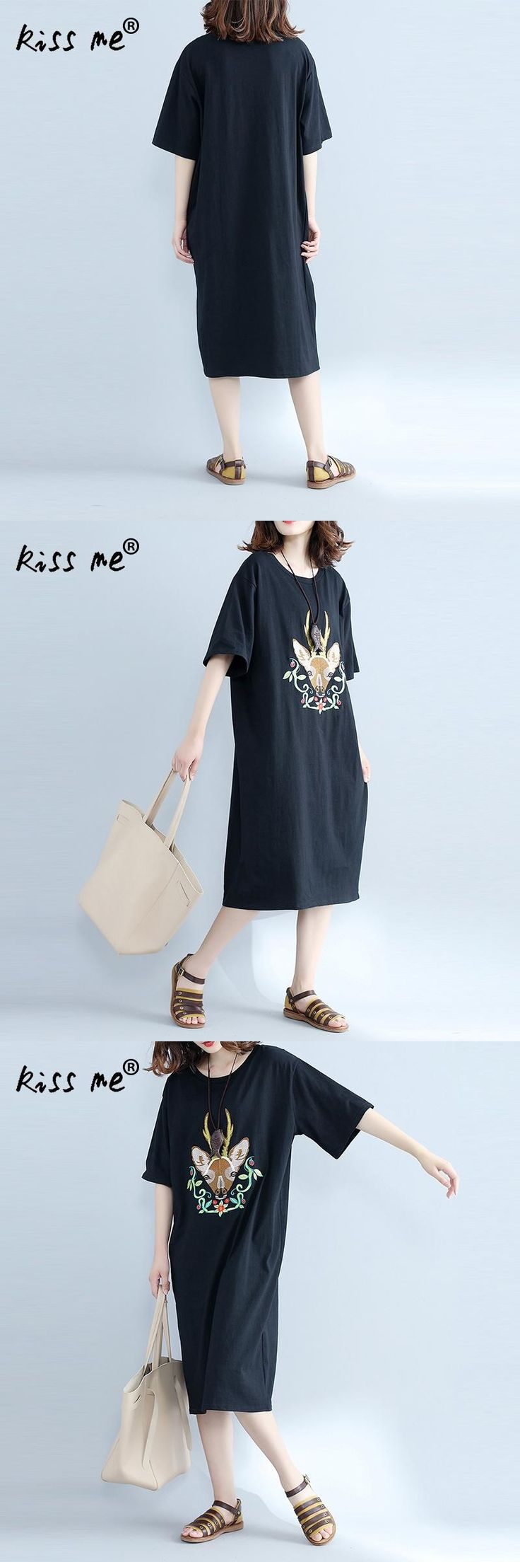 kiss me Loose T Shirt Dress Women Summer 2017 Brand Boho Vintage Black 3d Deer Embroidered Long Dress Casual Vestido Ladies Tops
