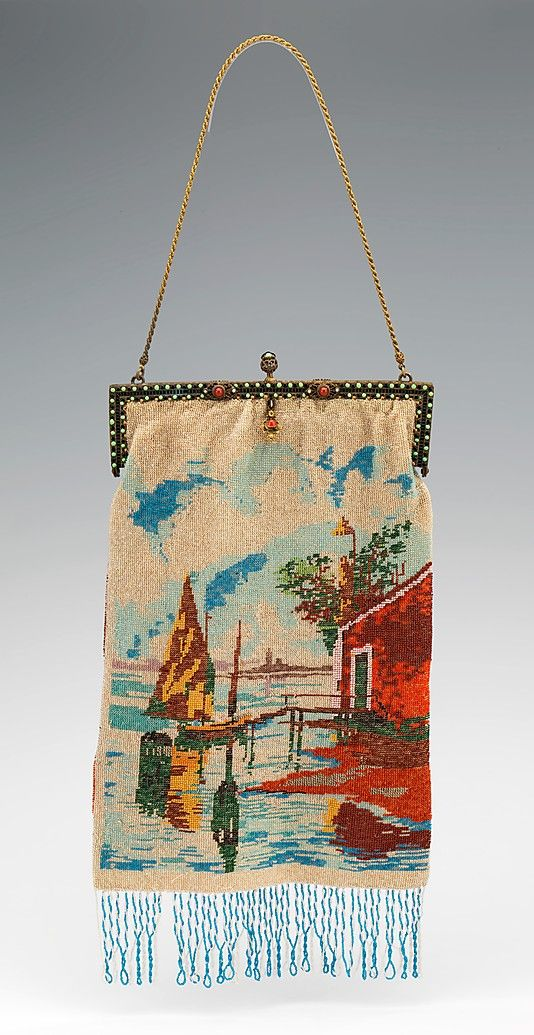 Evening purse 1920-29, probably French. Medium: glass, metal, linen, silk