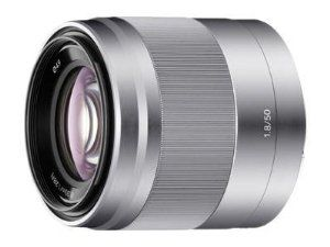 Sony 50mm f/1.8 Mid-Range Lens for Sony E Mount Nex Cameras by Sony. $298.00. Built-in Optical SteadyShot image stabilization. Large F1.8 aperture. Smooth and quiet high-speed focusing. Compact and lightweight Direct Manual Focus (DMF)