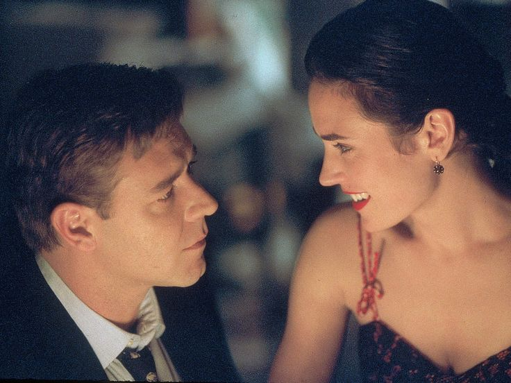 """Russell Crowe, left, and Jennifer Connelly in a scene from """"A Beautiful Mind.""""  2001 photo by Eli Reed, AP"""