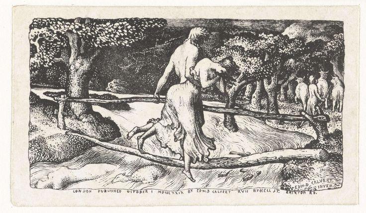 Edward Calvert | De overstroming, Edward Calvert, 1829 | Een man en een wanhopige vrouw steken een wild stromende rivier over. Zij lopen over een brug gemaakt van twee boomstammen. In de rivier drijven een dood schaap en het lichaam van een vrouw.