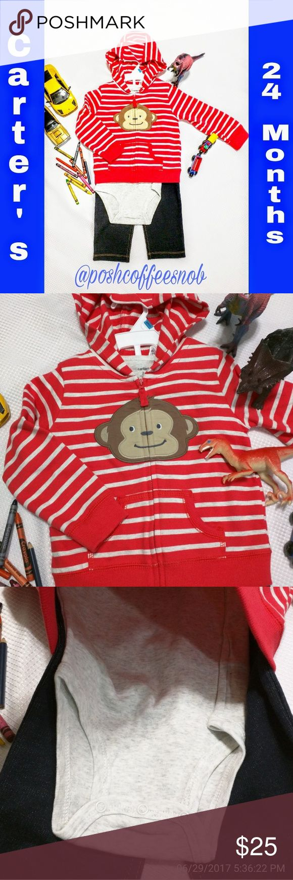 Carter's 3 Piece Boys Set Red and light gray striped zip up hoodie with a fun monkey face on the front. A light gray onesie and jeans that are more like soft jegging material. Feels like cotton. Carter's Matching Sets
