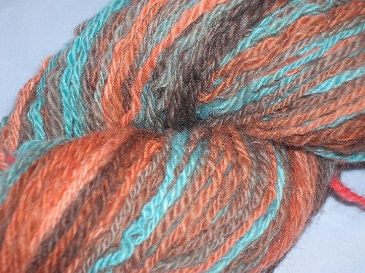 Handspun, hand dyed, worsted 3-ply self striping yarn. EU Seller