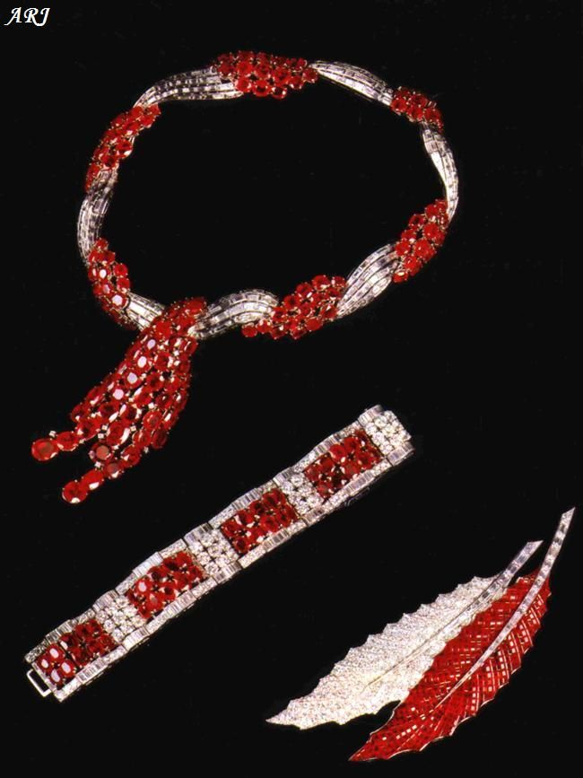 Duchess of Windsor's Ruby Set ;The union of the Duke and Duchess of Windsor lasted for 35 years until the Duke's death in 1972. During the period, the former King lavished his wife with many exquisite gifts of jewellery which the Duchess wore to great effect. Pieces in this set were given at various times but each has a special meaning.