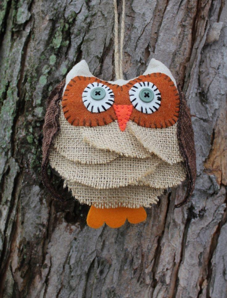 Burlap Owl Ornament Rustic Bird ~ 102409_Halloween Owl Door Hanger