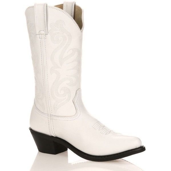 Durango Classic Women's Cowboy Boots ($130) ❤ liked on Polyvore featuring shoes, boots, white, leather boots, cowgirl boots, white leather boots, pull on leather boots and pointed toe cowboy boots