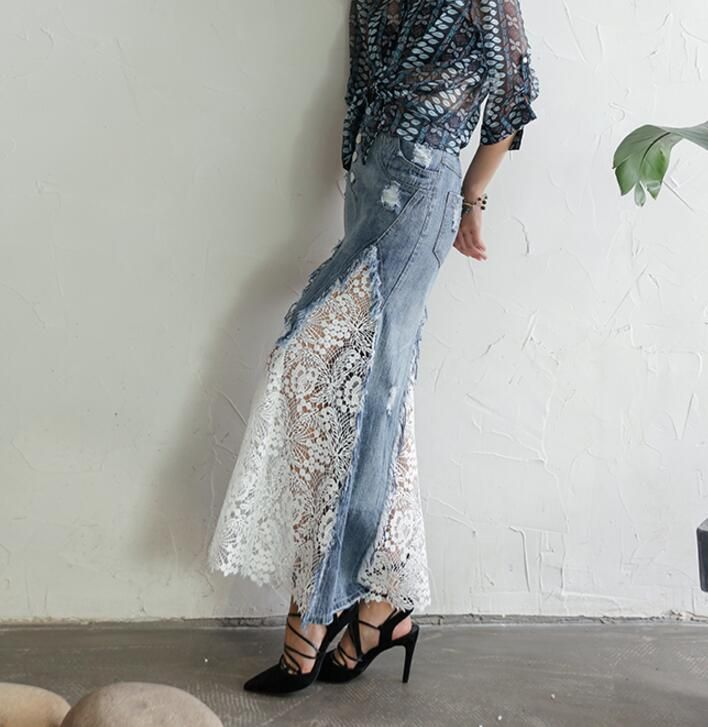 Women's Tassel Lace Denim Long Slim Fit Skirt Casual Lady Stylish Dress #132