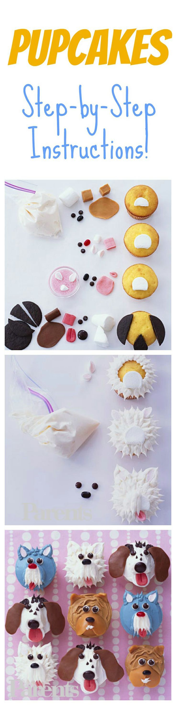 "These puppy cupcakes aren't ""ruff"" to make. Bake and decorate a batch with your kids for their next party!: Dog Cupcakes For Kids, Puppy Cupcakes For Kids, Cupcakes Cookies Pies Sweets, Decorated Cupcakes For Kids, Cakepops Cookies Cupcakes, Puppy Dog Cupcake, Cupcakes Aren T, Animal Cupcakes"