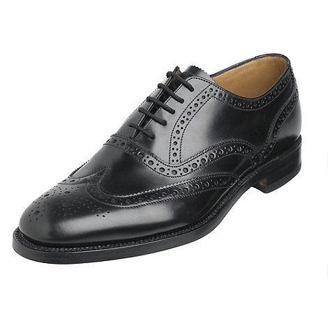 Loake Wide fit black full brogue shoes- at Debenhams.ie